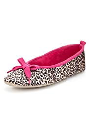 M&S Collection Animal Print Bow Ballerina Slippers [T82-3956-S]