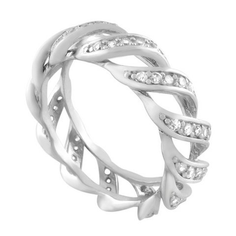 Sterling Silver Alternating Channel Set Wavy Anniversary CZ Ring