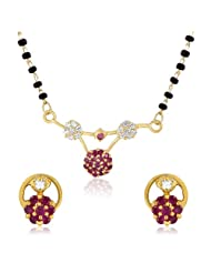 Mahi CZ Collection Gold Plated CZ Mangalsutra Earrings And Pendant Set For Women - NL1103505G