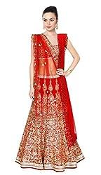 New Red Designer Heavy Embroidered Lahenga Choli By Kmozi