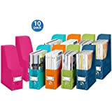Whitmor Plastic Magazine Organizers, Set of 10, Assorted colors