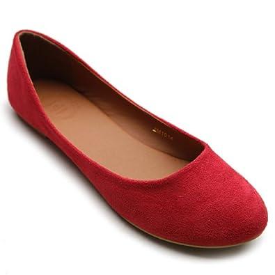 Ollio Womens Shoe Ballet Light Faux Suede Low Heels Flat(5.5 B(M) US, Red)