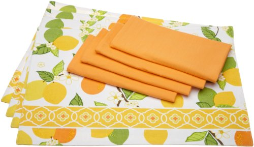 Design Imports DII Citrus Blossom Kitchen Linen Set with Citrus Print Placemats and Tangerine Napkins, Set of 4