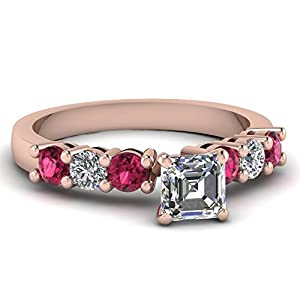 Fascinating Diamonds 0.80 Ct Asscher Cut:Very Good Diamond & Pink Sapphire Engagement Ring E-Color GIA