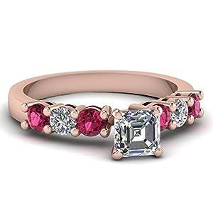 Fascinating Diamonds 0.80 Ct Asscher Cut:Very Good Diamond & Pink Sapphire Engagement Ring E-Color GIA