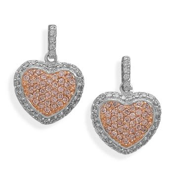 Rhodium Plated CZ Heart Post Earrings
