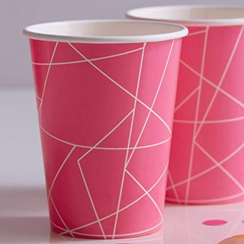 Ginger Ray Hot Pink Neon G eometric Paper Party Cups X 8