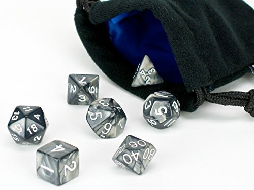 Polyhedral Dice Set | Black Smoke Swirl | 7 Piece | PRISTINE Edition | FREE Carrying Bag | Hand Checked Quality With | Money Back Guarantee