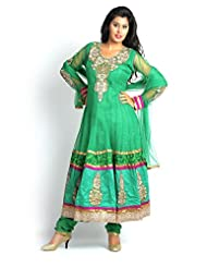 Maurvi Presents A Green Color Multi Work Anarkali Suit