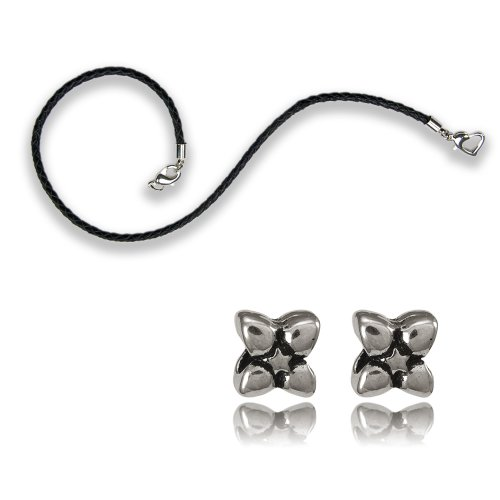 Balalabeads 25cm Leather Ankle Bracelet Featuring Silver Plated Double Security Clasp Supplied with 2 X Lucky Clover Design Metal European Style Spacer Beads