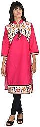 Goodyygoods Women's Cotton Regular Fit Kurti (GG 27, Pink, Large)