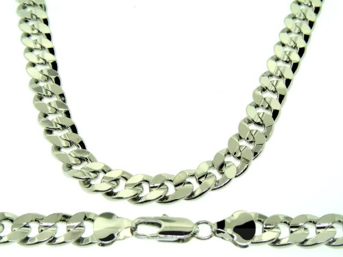Luxury Cuban Curb Chain Necklace - Silver Plated - Men's - 10MM WIDE, 20