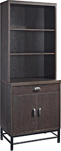 Altra Furniture The Manhattan Line Home Office 3-Shelf Bookcase with 2 Drawers with Metal Legs, Dark Brown Altra 3 Shelf Bookcase
