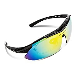 RIVBOS 806 POLARIZED Sports Sunglasses with 5 Set Interchangeable Lenses for Cycling (Black)