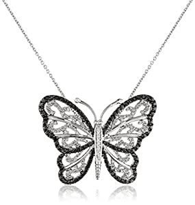 Sterling Silver Black and White Diamond Butterfly Pendant Necklace (1/3 cttw),18