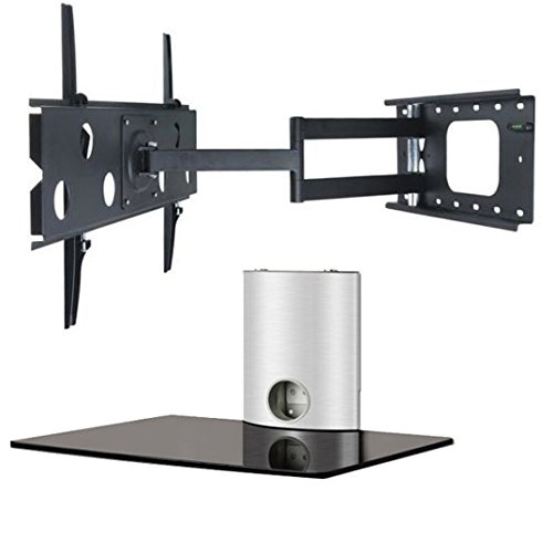 2Xhome - Tv Wall Mount Bracket & One (1) Single Shelf Package - Led Lcd Plasma Smart 3D Wifi Flat Panel Screen Monitor Moniter Display Displays - Long Swing Out Single Arm Extending Extendible Adjusting Adjustable - 1 Tier Under Tv Tempered Glass Floating