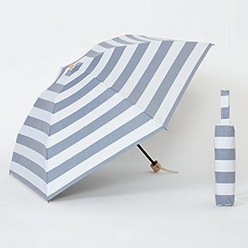 リーベン 日傘 折りたたみ マリンボーダー ネイビーブルー×オフホワイト 遮熱 遮光1級 晴雨兼用【LIEBEN-0566】遮光率99.99% クールプラス