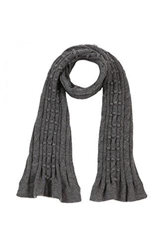 ANTA Q'ULQI - Sciarpa grigio scuro a maglia con piccole palle 100% in lana di baby alpaca - grigio, Taglia unica