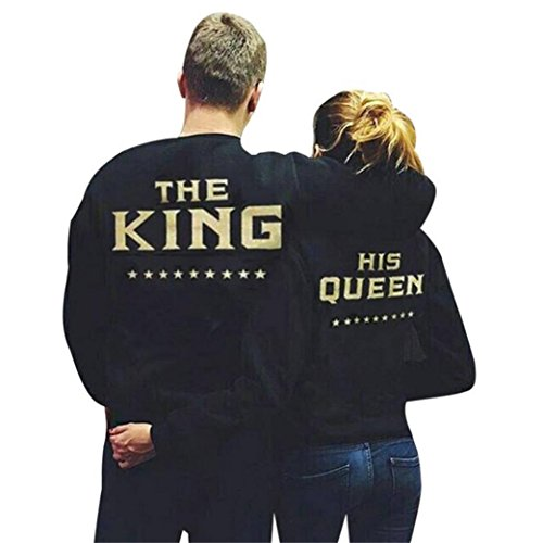 [Anboo Lover Partner HIS Queen THE KING Letter Long Sleeve Couple Sweater (Men M)] (Matching His And Her Costumes)