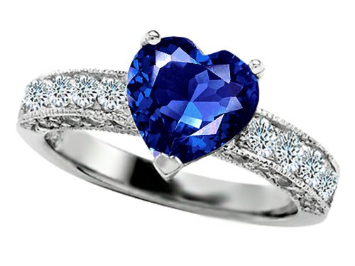 Star K 8Mm Heart-Shape Created Sapphire Engagement Ring Size 8
