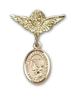 14K Gold Baby Badge with St. Elizabeth Ann Seton Charm and Angel with Wings Badge Pin