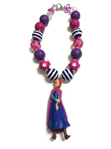 Kwc - Chunky Bubblegum Beads Necklace Baby Girls - Princess Anna Frozen Inspired