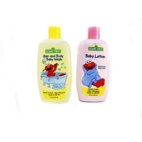 NEW Sesame Street 2 Piece Bath Set (Hair and Body Baby Wash I Baby Lotion)