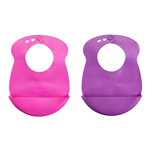 Tommee Tippee Easi-Roll Bib, Pink and Purple/Pink and blue, 2 Count, Colors may vary