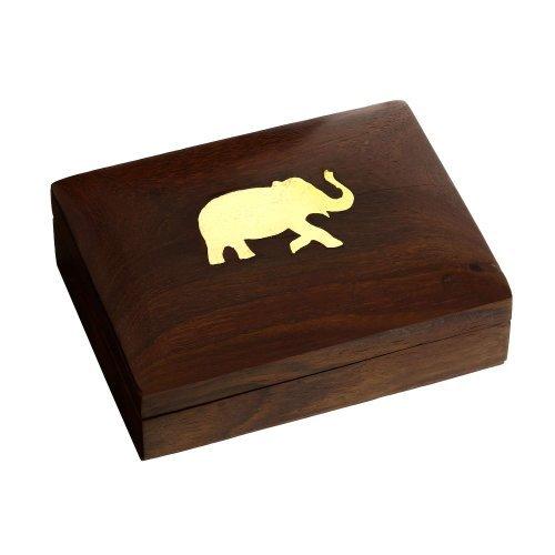 ShalinIndia - Cofanetto in legno portagioie con elefantino