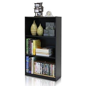 Furinno 99736EX 3 Shelf Storage Racks Shelves Cabinet Bookcase Bookshelf Bookshelves, Espresso Finish
