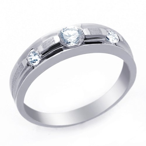 Little Treasures 14 ct Engagement Ring 0.3ctw CZ Cubic Zirconia Women's Wedding Band White Gold Ring