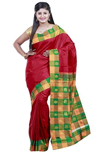 Kanchipuram Handloom silk sarees Double side contrast border checks Jari Putta