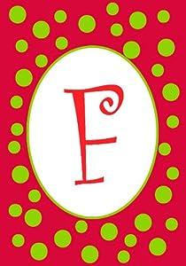 """F"" Christmas Red Green Polka Dot Monogram Mini Flag"