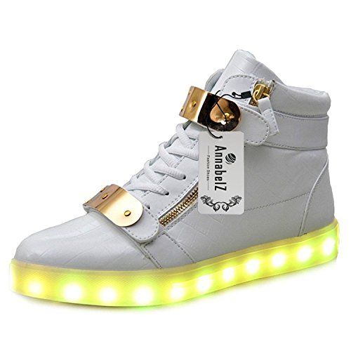 annabelz led shoes high top men women light up shoes usb charging metal velcro flashing sneakers. Black Bedroom Furniture Sets. Home Design Ideas