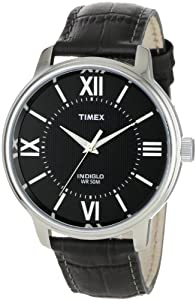 Timex Men's T2N693 Elevated Classics Dress Color Strap Collection Dark Gray Leather Strap Watch