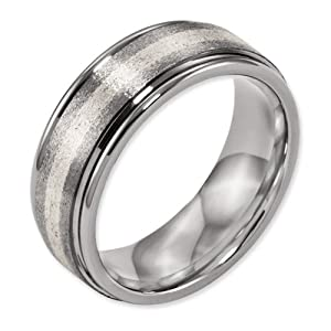 Titanium Grooved Edge Sterling Inlay 8mm Satin and Polished Band