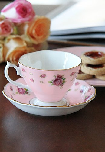 Royal Albert China New Country Roses Pink, Vintage Formal Teacup And Saucer, Boxed Set
