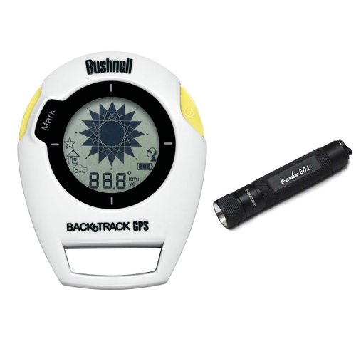 Bushnell 360400 Backtrack Gps Digital Compass Navigation Original G2 White/Yellow Clam Pack W/ Fenix E01 Compact Keychain Led Flashlight (Black)
