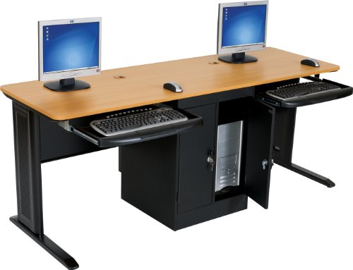 Balt LX 72-Inch Wide Workstation with Locking Door CPU Cabinet/Pull Out Keyboard Tray