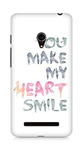 AMEZ You make my heart smile Quote Back Cover For Asus Zenfone 5