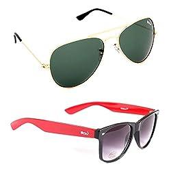 Elligator Stylish Gold Green And Red Wayfarer Sunglasses Combo ( Set of 2 )
