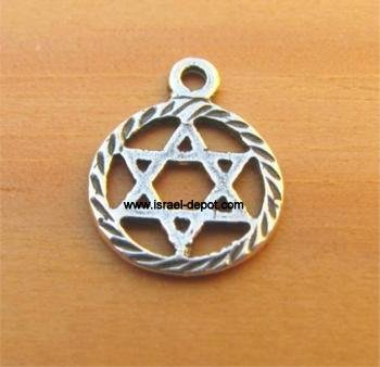Sterling Silver Magen David in Circle Pendant Jewish