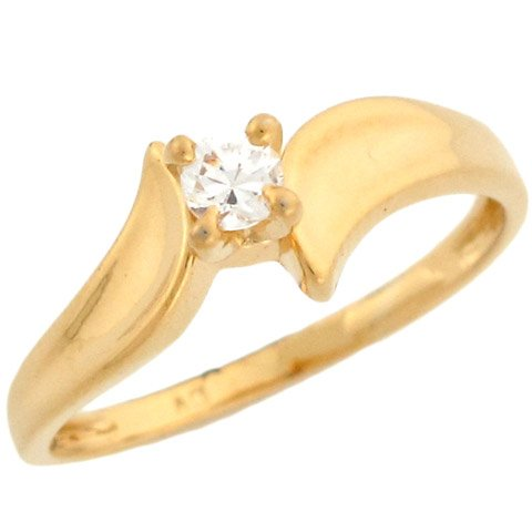 10k Yellow Gold Gorgeous Round CZ Solitaire Promise Ring
