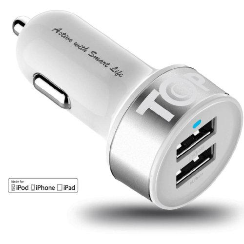 Topg - Lifetime Warranty - Dual Usb Ports 3.1A Portable Usb Car Charger For Iphone 5 5S 5C 4 4S,Ipad 4 3 2,Ipad Mini,Ipad Air Battery Power Supply For All Apple Device (Lightning Cable/Adapter Not Included)- (White+Silver)