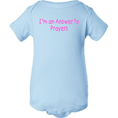 Inktastic Unisex Baby I'M An Answer To Prayers Girl Infant Creeper Newborn Baby Blue front-1065061