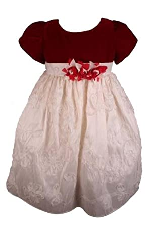 Pretty Me Red Ivory Girls Holiday Dress Christmas Dress-12 Months