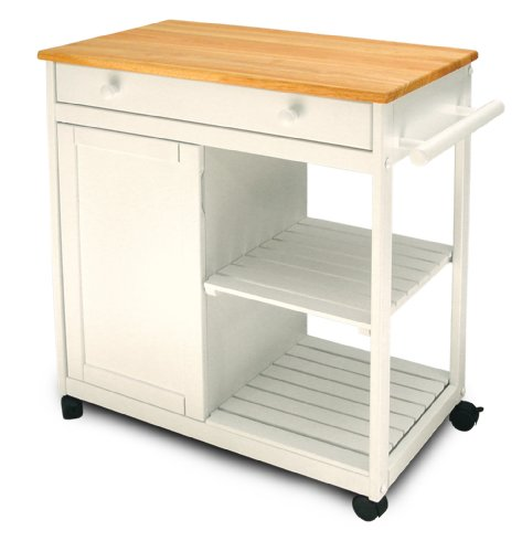 Buy low price catskill craftsmen wheeled utility microwave kitchen cart w natural top black - Cheap kitchen island cart ...