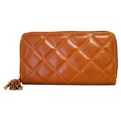 Light Brown Buxton Medium Slim Zip Clutch Wallet