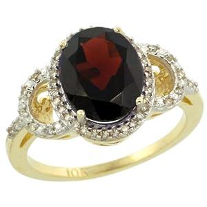Revoni 9ct Yellow Gold Garnet And Diamond Ring, Oval Stone (10x8 mm)