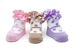 Baby Emporio-3 Pr Baby Girl Socks-0-9 Mos-Gift Pouch (POLKA DOTS)